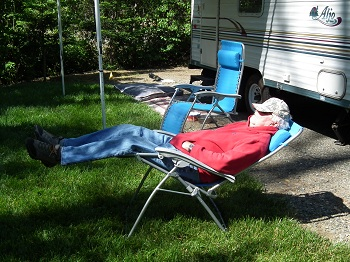 Relaxing at your RV Site at Strawhouse Resorts